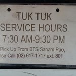 Contact No for your tuk tuk pick up