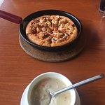 Chicken soup and chickensupreme pizza
