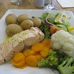 Poached salmon mains at Murray Arms