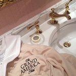 Vanity area in clothes closet.