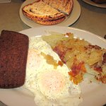 Eggs over easy w/ Scrapple & Home Fries w/ Onion