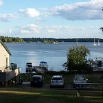 Looking south over the boat dock on to the St. Lawrence River and the 1,000 Islands