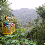The cable car to the waterfalls passes a large ravine