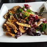 House salad with grilled chicken. Amazing salad dressing.