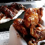 Chicken wings and Moroccan riblets