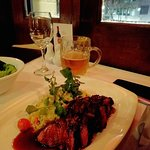 Rag and Famish - kangaroo loin in red wine jus and a pint of pure blonde