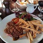Rib eye steak with sweet potato fries - delicious!