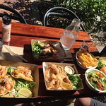 Ceviche on Avocado & Tostada, soft shell crab, Prawns, Fresh Salad, Barramundi