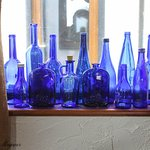 Blue bottles decorate the windowsill of The Galley Cafe.