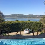 The gorgeous view of the Knysna Heads from our room at Hide Away Guest House