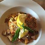 Jambalaya and Parmesan and herb crusted salmon over Mediterranean hash