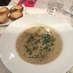 Mushroom and potato soup of the day with bread.