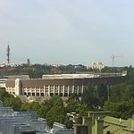 View of the 1952 Olympic stadium across the rooftops