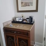 mini fridge inside cabinet, works great