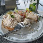 The crab sandwich half eaten - delicious