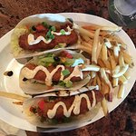 Dolphin Tacos and Buffalo Chicken Salad