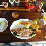 Whole fried red snapper with mango margarita