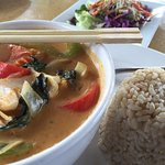 Spicy red curry with tofu