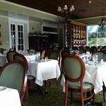 Inside dining area and view of river