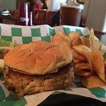 The crab cake is bigger than the bun. Tasty, and good value.  Homemade chips tasty as well.