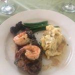 NY Strip, Shrimp, and Mashed potatoes.