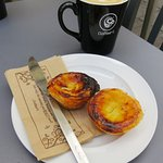 Delicious coffee and egg custard tarts in Chepstow (29/Jul/16).