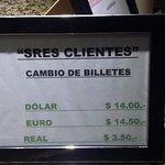 La pizarra que tenían en el mostrador y que no quisieron respetar al cobrarnos en dólares billet