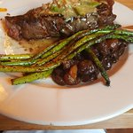 NY strip and asparagus