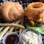 """Enjoyed a delicious """"Randy Breuer burger basket"""" today after a round of golf."""