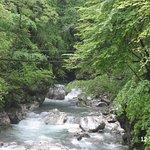 The river and suspension bridge