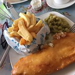 Haddock chips and mushy peas, delicious