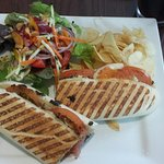 Tomato, mozzarella, and pesto panini with a side salad.