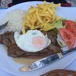 Steak egg and chips