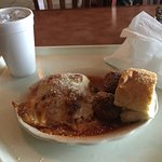 The lasagna with a side of couple of meatballs was great.