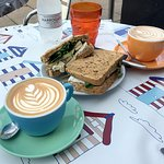 Flat white; brie, apple, and watercress sandwich
