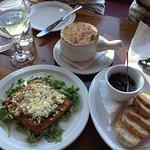 Starters - onion soup, mushroom tart, escargots