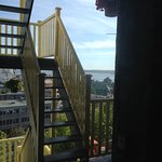 View from our room of stairway to upper deck