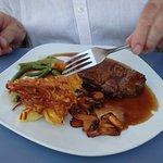 steak for Paul - rosti, chanterelles, and a tasty sauce