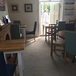 Our new, small tables in the tea room with space for pushchairs and wheelchairs