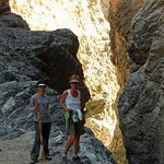 Walking in the slot canyons.