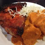 Tandoori chicken, rice, butter chicken.