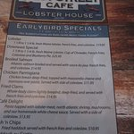 The early bird specials menu