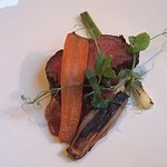 Sirloin of Beef, Duck with Rhubard Crumble & Vanilla Mascarpone, chocolate cherry slice and whit