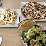 Pizza Niko, Greek Salad, Feta Fries.