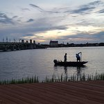 Twilight fishermen right off the deck