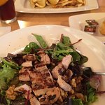 Entree house salad with chicken and portabella wrap