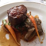 Roast sirloin of Irish beef with mushroom puree, shallot and carrot