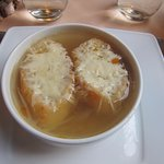 French onion soup. Very simple and 'brothy'.