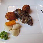 The steak option was quite chewy but the potatoes were very good