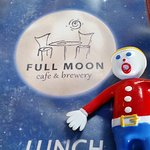Our vacation mascot Mr. Bill enjoys some lunch at Full Moon cafe!